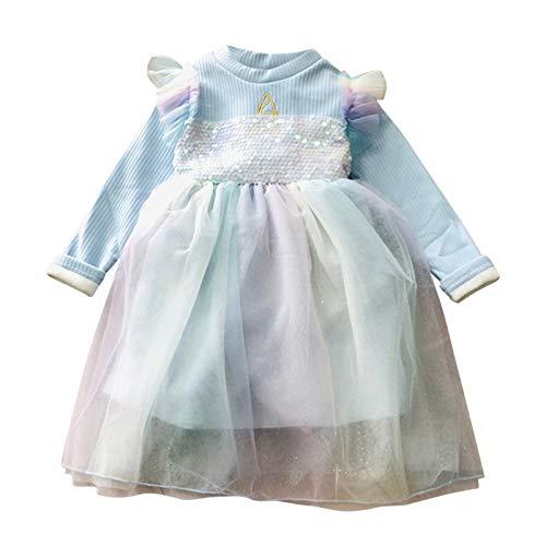 Vestido Nia Lentejuelas Manga Larga Ms Terciopelo Encaje Tutu Vestidos Beb Nias Princesa Ropa Bebe Recien Nacido Nia Invierno (Cielo Azul, 4-5 aos)