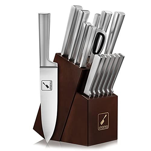 Knife Set with Block, imarku 15 Pieces Kitchen Knife Sets
