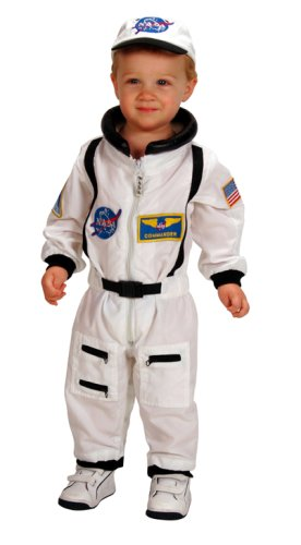 Aeromax Jr. Astronaut Suit with Embroidered Cap and NASA patches, WHITE, Size 18 Months
