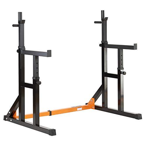 Rack regolabile Mirafit per squat con aste da dip e barra di sicurezza - Larghezza e altezza della rack e delle barre di sicurezza regolabili per una maggiore varietà nell'allenamento 13 livelli di rack (intervalli di 5 cm) - 7 livelli per le barre d...