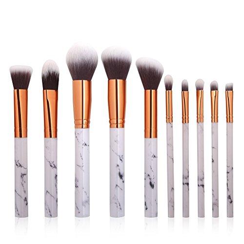 10 pcs Pinceaux de maquillage extrêmement doux Lot de brosse de maquillage Fond de teint poudre Brosse Beauté Marbre Grain Doré Make Up Lot de pinceaux de