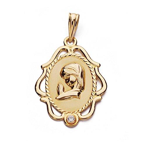 OROCORDOBA Medalla Bebé/Niña Oro Amarillo 18 ktes Tamaño 17x21 mm Virgen Niña Circonita Comunión