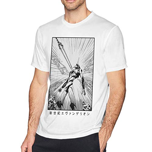 WEIYE Neon Genesis Evangelion Short Sleeve T Shirts for Men White