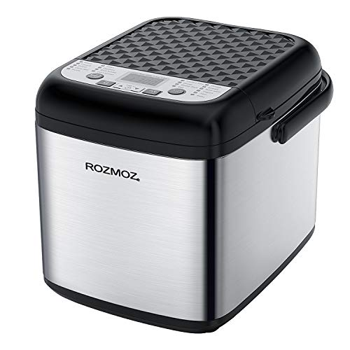 19-in-1 Bread Machine, Rozmoz Programmable Bread Maker with Gluten-Free Setting and Nonstick Ceramic Bucket, 1.2LB Bread Maker Machine for Daily Bread Making, 7 Deluxe Accessories Including 3 Kneading Paddles