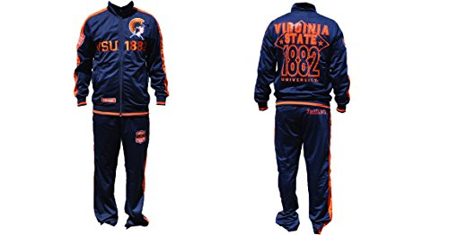 Virginia State Trojans - Navy Blue Track Suit with Orange Text, XL