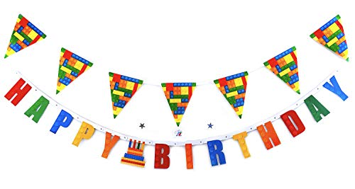 Building Block Happy Birthday Party Decorations - Happy Birthday Banner and flag For Building Blocks Theme Party - For Boy Kid Girl Toddler Adult - Birthday Kit Decorations - Building Blocks Flag And Banner