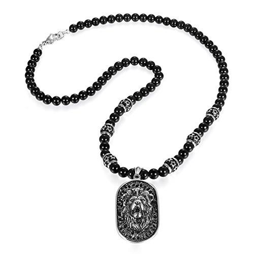 JewelryWe Schmuck Herren Biker Halskette, Edelstahl Gotik Punk Rock Löwe Kopf Dog Tag Anhänger mit Achat Onyx Perlen Kette Kugelkette, Schwarz Silber