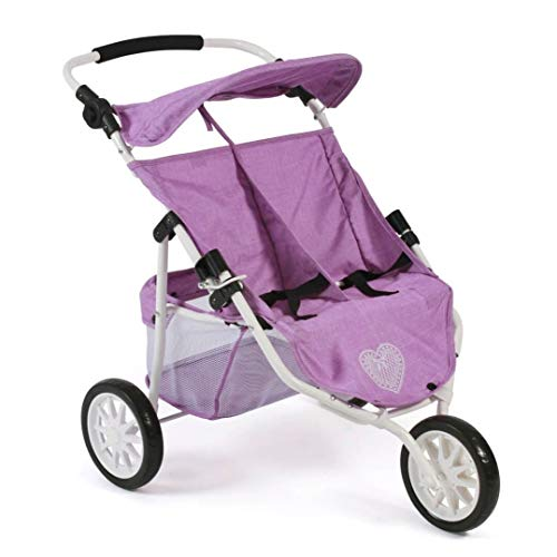 Bayer Chic 2000 697 35 Jogger, Zwillings-Puppenwagen für Baby-Puppen bis 50 cm, lila