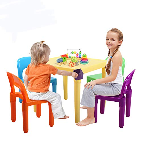 N / A Kids Plastic Table and 4 Chairs Set BPA Free, Activity Play Table Set for Toddler Child Aged 12-60 Months, 10 Inches High Chair for Playroom Bedroom, Primary