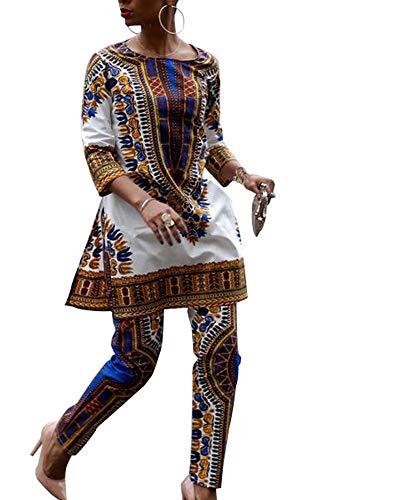 Camisa y Pantalones Informales africanos de Manga 3/4 de Moda para Mujer, Conjuntos de 2 Piezas, Ropa auspiciosa étnica Africana