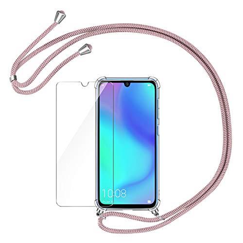 AROYI Funda con Cuerda para Huawei P30 Lite + Protector Pantalla, Carcasa Transparente TPU Silicona Case con Colgante Ajustable Collar Correa de Cuello Cadena Cordón para Huawei P30 Lite - Oro Rosa