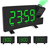 ALLOMN Projection Alarm Clock, FM Digital Alarm Clock Curved-ScreenFM Radio/Time Projection/Adjustable Projector/Snooze/Dual Alarms/USB Charger Port/12/24 Hour/Dimmer (Green)