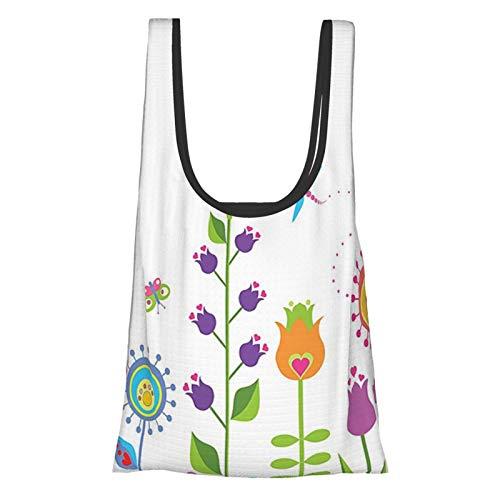 Decorazioni floreali carino set floreale con diversi tipi di fiori su erba speranza stagione di tendenza illustrazione multi riutilizzabile drogheria, ecologico shopping bag
