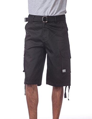 Pro Club Men's Cotton Twill Cargo Shorts with Belt, 38