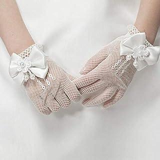 YOUZHIXUAN, Guantes de Seguridad del Engranaje niñas niños Atan Perlas de imitación Mallas comunión niña de Las Flores Accesorios de la Ceremonia de Boda Un tamaño (Blanco)