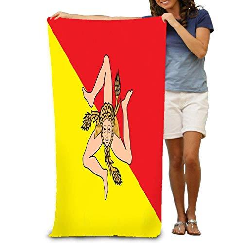 Toalla de Playa de natación de Microfibra 80 X 130 cm Bandera Regione Sicilia Italia Europa Aviable Bandera Sicilia Happy Painte Happy