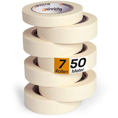 Hinrichs 7 x Kreppband - 6 Rollen 50 m x 30 mm plus 1 Rolle 50 m x 20 mm - Malerkrepp für sauberes Abkleben der Abdeckfolie bei Malerarbeiten