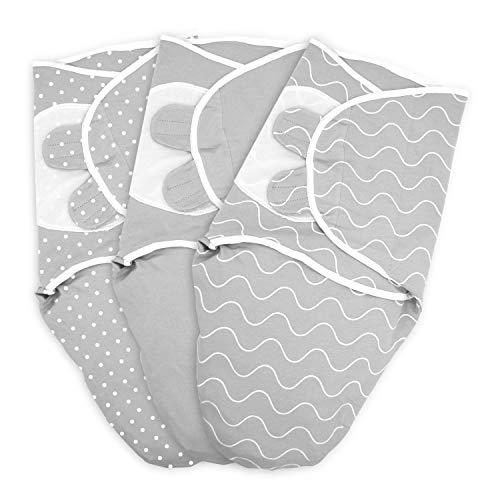 TALINU Baby Pucksack aus 100% Baumwoll Jersey, mit Klettverschluss, Größe L: 4-6 Monate, Wickeldecke, Puck-Tuch