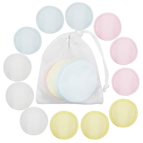 xingxing 20 almohadillas reutilizables para quitar el maquillaje, lavables y de algodón de bambú con bolsa de lavandería, toallitas faciales, ojos y labios (color: 12)