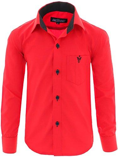 GILLSONZ A7vDa Kinder Party Hemd Freizeit Hemd bügelleicht Lange Arm mit 10 Farben Gr.86Bis158 (122/128, Rot)