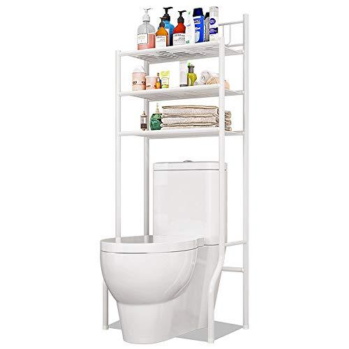 TZAMLI - Estantería para el inodoro con 3 estantes, de acero cromado de alta calidad, ideal para el baño y el baño, color blanco