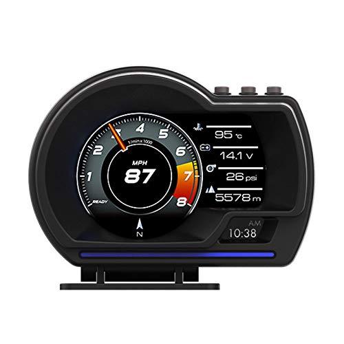 KKmoon HUD per Auto, Head Up Display OBD2 + GPS Indicatore Intelligente Tachimetro Chilometraggio ad Alta Definizione OBD Errore di Eliminazione Computer Allarme velocità Eccessiva per Tutti Veicoli