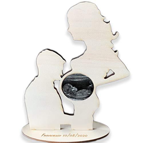 Porta ecografia Mamma incinta cornice coppia in legno con incisione personalizzata