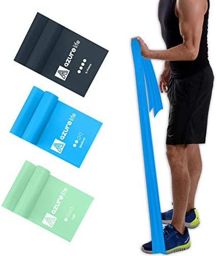 A AZURELIFE Resistance Bands Set Professional Non Latex Elastic Exercise Bands 5 ft Long Stretch product image