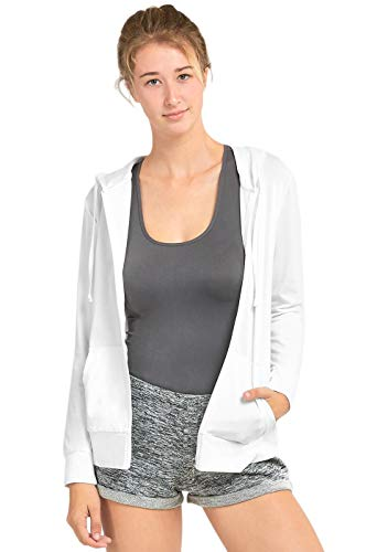 Sofra Women's Thin Cotton Zip Up Hoodie Jacket (XL, White)