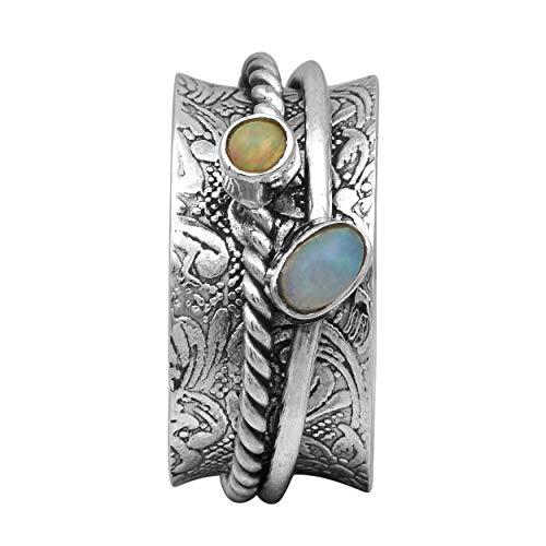 Spinner Ring || 925 Sterling Silber magisch gehämmert Spin Band äthiopischen Opal Meditation Zappelring (62 (19.7))