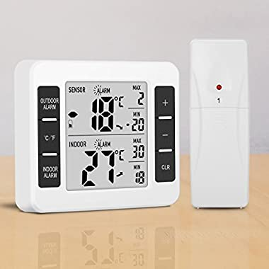 Glisteny Refrigerator Thermometer, Indoor Outdoor Thermometer Wireless Sensor Temperature Monitor with Audible Alarm Temperature Gauge for Freezer Kicthen Home