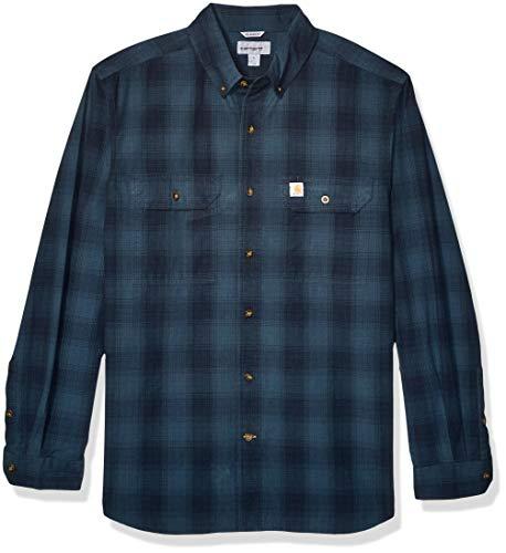 Carhartt Men's Fort Plaid Long Sleeve Shirt, Navy, Large