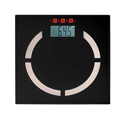 Digitale Analyse-Personenwaage Analyse-Waage Körperfett-Anteil BMI-Rechner Touch-Display (100 gr-Schritten, bis 180 kg, LCD Akku-Ladeanzeige, Speicherung für 10 Personen, Schwarz)