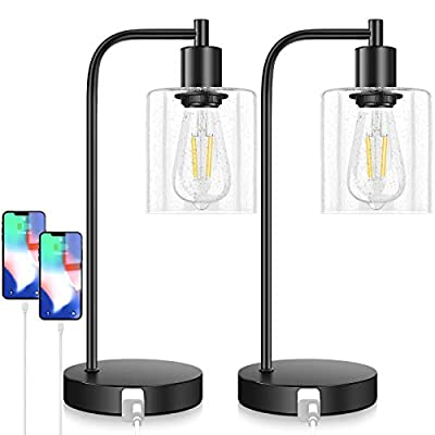 Touch Control Industrial Table Lamps Set of 2, Bedside Nightstand Lampswith 2 USB Ports&AC Outlet, 3-Way Dimmable Vintage Desk Lamp with Seeded Glass for Bedroom Reading, Living Room, Bulbs Included