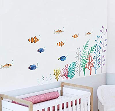 BIBITIME Underwater World Wall Stickers Colorful Seaweed Algae Coral Fishes Vinyl Decals for Bathroom Tile Outside Glass Door School Classroom Nursery Bedroom Children Kids Room Decor