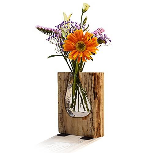 Ulif Holz-Vase, Handgefertigte Deko-Vase, Formschöne Blumen-Vase aus Holz und Glas