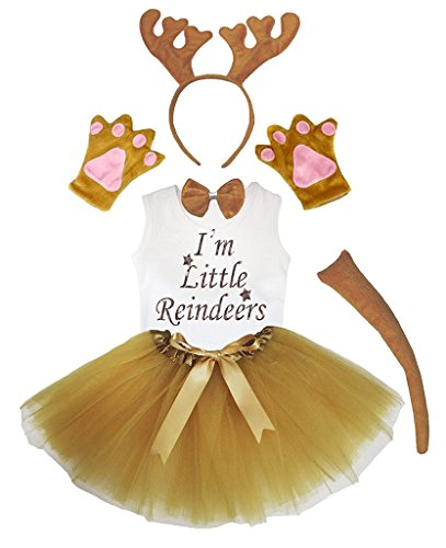 Petitebelle Headband Bowtie Tail Gloves Shirt Skirt 6pc Girl Costume 1-8y (Reindeer, 4-5 Yr)