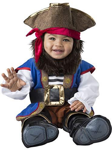 MalibuLove Costume Carnevale Pirata Bebè Travestimento Halloween Cosplay Neonato Tuta con Copriscarpe Barba e Cappello Bambino Pirata dei Mari corsaro (6/12 Mesi)