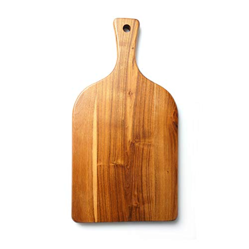 Teak Wooden Cutting Board with Handle - Elegant Wooden Chopping Board with Paddle Handle - Cheese Board - Charcuterie Board - Serving Board - Bread Board - A Perfect Gift for Weddings & Housewarmings