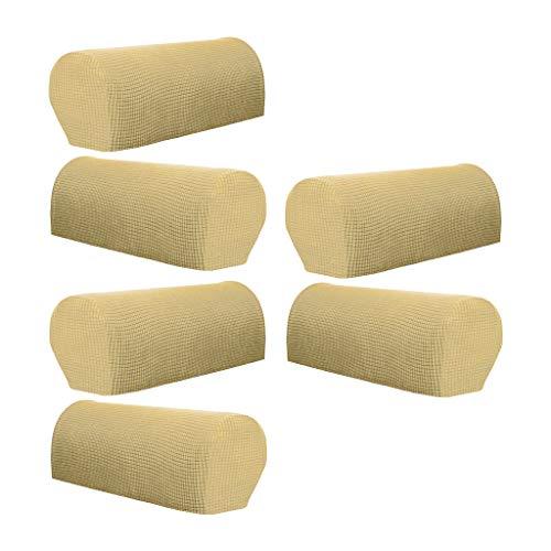 joyMerit Juego de 6 Fundas para sofá y reposabrazos, Antideslizantes, elásticas, Color Beige