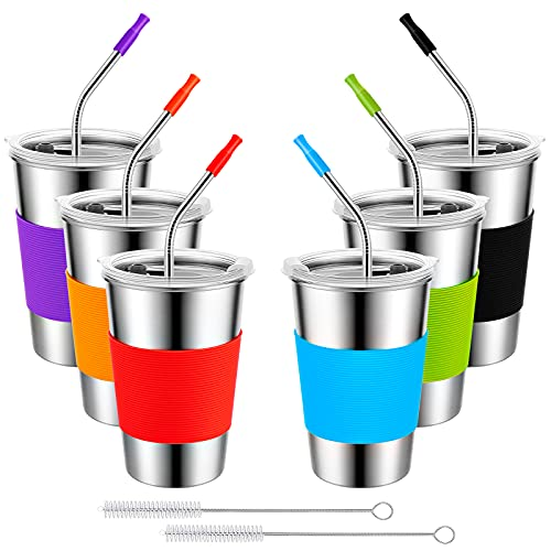 Osportfun Tazas de Agua de Acero Inoxidable de 500 ml, Taza de Café de Viaje Juego de 6 Piezas, Vasos de Acero Inoxidable de Primera Calidad con 6 Pajitas de Botella de Agua Antifugas sin BPA.
