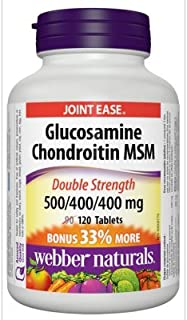 Webber Naturals Glucosamine Chondroitin MSM Double Strength, 500/400/400 mg, 120 Tablets