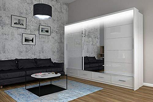 E moderna lucida armadio scorrevole superficie laterale con lunghi lampada trattamento opaca con,White-255cm