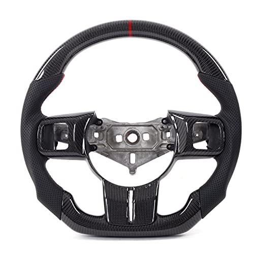Volante, fibra de carbono Volante de cuero perforado napa con molduras de repuesto Tipo D Racing Fondo plano para JK/JKU 20
