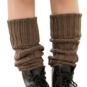 Butterme Delle Signore Delle Donne di Moda Knit Crochet Scaldamuscoli Calzini della Barca Leggings Alta Ginocchio (Cachi)
