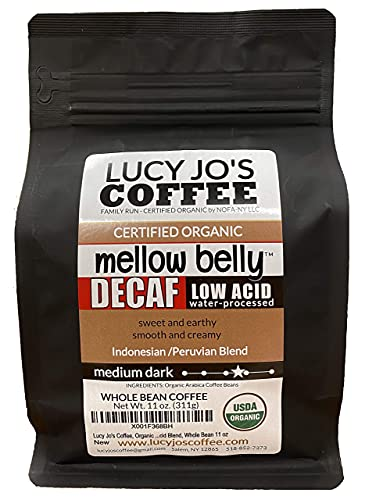 Lucy Jo's Coffee, Organic Decaf Mellow Belly Low Acid Blend, 11 oz (Whole Bean)