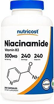 Nutricost Niacinamide  Vitamin B3  500mg 240 Capsules - Non-GMO Gluten Free Flush Free Vitamin B3
