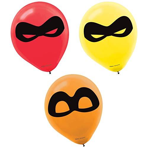 amscan Disney/Pixar Incredibles 12 Printed Latex Balloons, Pack of 6, Assorted Colors