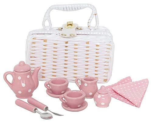 JaBaDaBaDo Mini Picknickkorb weiß mit Teeservice aus Porzellan / Farbe: rosa mit weißen Punkten / Maße Korb: 16,5 x 9 x 9 cm / 3+