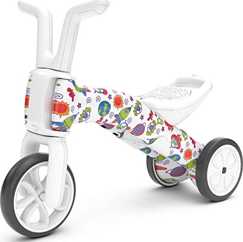 Chillafish Bunzi FAD 2in1 Toddler Balance Bike and Tricycle Ages 1 to 3 Years Old Adjustable Lightweight First Gradual Balance Bike with Silent NonMarking Wheels When Monsters Meets Stars